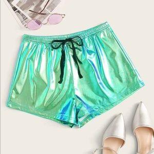 Metallic green shorts